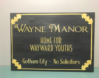 Vintage Style Hand Painted Batman Sign/ Nerd Decor/ Geek Chic