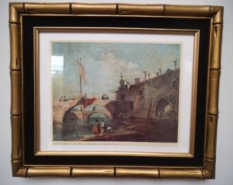 "Francesco Guardi - ""Paese Con Ponte"" - Vintage Framed Print"