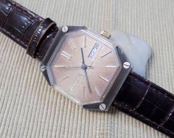 Vintage Gents watch Raketa 2628 H, Calendar, Gold-plated, rare type working, Petrograd watch factory