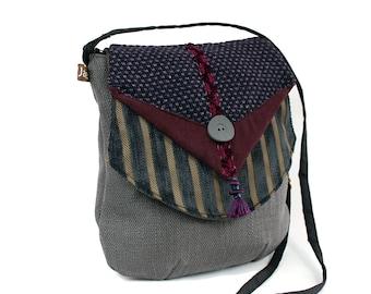 Zipped Sling, basic gray canvas bag, flap with. Bag woman classic spirit.