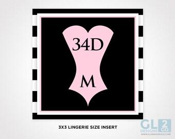 Lingerie Size Insert. Bridal Shower Invitation Insert. Bride Bra & Panty Size. Printable Black, White + Pink Corset Insert. Bachelorette