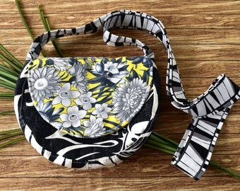 Mini Half Round Shoulder Bag in Black and White Hawaiian Print Fabric with Zipper Pocket, Small Vegan Shoulder Bag in Black and White Floral
