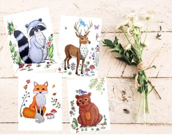 Forest animals, cards set, woodland creatures, cute fox postcards, woodland animal card, stationery, Get Well cards, miss you, note cards
