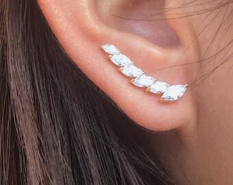 Marquise ear climber earrings   ear climbers   ear crawler earrings   ear crawlers   ear sweeps   ear pins