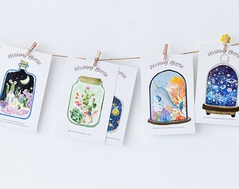 Post card Set of 30, Gift for her, Terrarium Postcards, Message in a bottle, Thank you Postcard