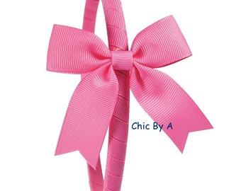 Pink Headband,Girls Christmas Headband,Toddler Headband,Yellow,Bow Headband for Little Girls,Hard Plastic Headband,Red Hair Bow