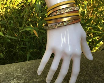 Gold Double round leather Cuff Bracelet