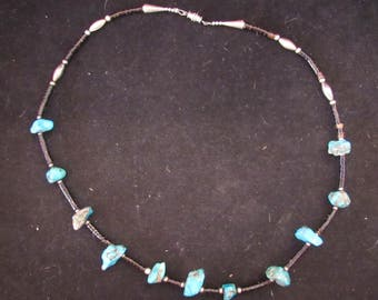 Wonderful Sterling Silver Clasp Turquoise Stone 24 inch Necklace (E723)