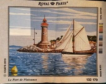 """Royal Paris white canvas """"The port"""" port, Lighthouse, Sailboat, lighthouse, sailboat 132 179 47cm x 37cm new"""