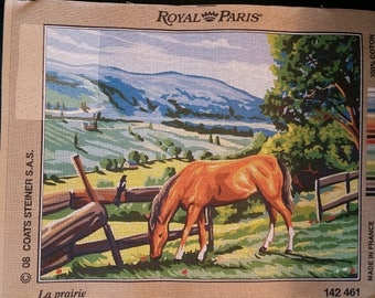 "Royal Paris antique canvas ""The prairie"" horse horse tapestry 142 461 47 cm x 37 cm new countryside campaign"