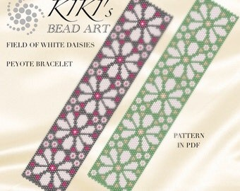 "Pattern, peyote bracelet- ""Field of white daisies"" peyote bracelet pattern in 2 colour vesion PDF instant download"