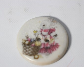Porcelain Button Easter Decal Bunny Rabbit with Eggs Basket