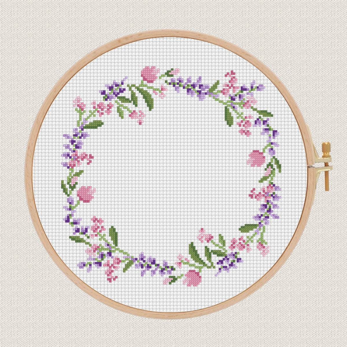 Flowers cross stitch pattern lavender helleborus floral wreath