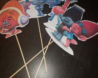 Trolls Double Sided Cutouts on a Dowel