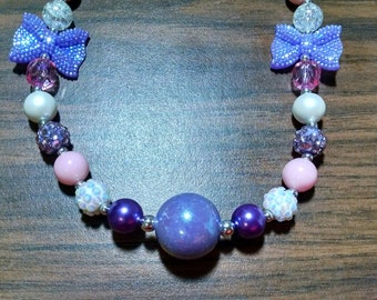 Valentine's Day Chunky Bubblegum Necklace.  Sparkle Purple Bows.  12mm bead necklace