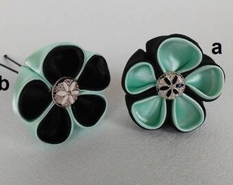 Hair stick flower kanzashi/PIN to hair/Barrette kanzashi/green Mint and flowers black/hair clip