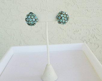 Vintage Blue Cluster Earrings