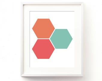 geometric print, colorful hexagons wall art, nursery decor, pink red, blue, orange, kids room print, minimalist modern decor