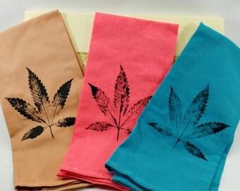 Cannabis Leaf Pot Cloth Set, Hand Stamped. (Tea Towel, Kitchen Towel)