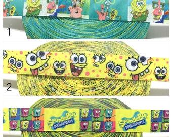Spongebob Ribbon by the Yard, Spongebob Squarepants Ribbon, Spongebob Grosgrain Ribbon, Sponge Bob Ribbon