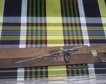 Authentic Handwoven Bleeding Madras Cotton Plaid Fabric by Yard (For Sports Jacket)