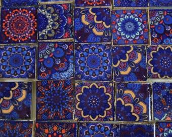 Ceramic Mosaic Tiles - Dark Blue Yellow Pink Medallions Moroccan Tile Mosaic Tile Pieces - 35 Pieces /Mosaic Art / Mixed Media Art/Jewelry