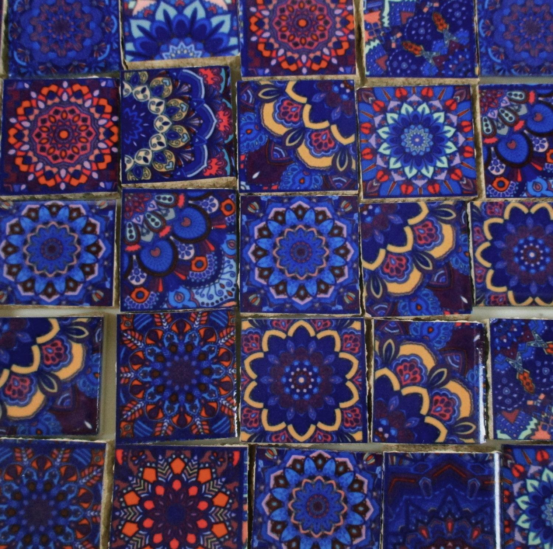 Ceramic Mosaic Tiles Dark Blue Yellow Pink Medallions