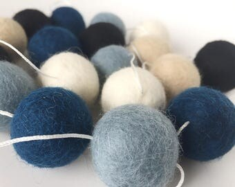 Blue Felt Ball Garland - Pom Pom Garland -Nursery Decor - Boys Room Decor