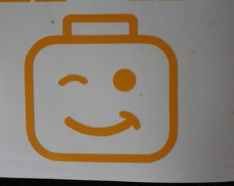 Lego Mini Figure Head Wink Decal Any Size Any Colors