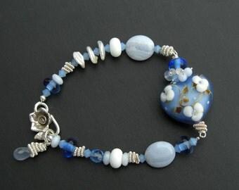 Blue bracelet heart 925 Silver stripe agate, Lampwork heart, blue lace agate, sterling silver,.