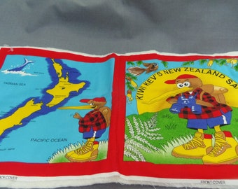"Childrens Cloth Book Fabric Panel Cut, Kiwi Kev's New Lealand Safari, with Batting, 10"" square, 10 pages + covers"