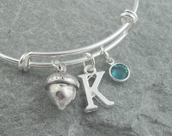 Acorn bracelet, silver acorn jewelry, initial bracelet, monogram bracelet, swarovski birthstone, personalized jewelry, silver charm bangle