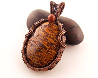 wire wrapped fossil stone-jasper necklace-copper necklace-wire wrapped jewelry-handmade wire weave jewelry-Melissa Wood Jewelry-wire wrap