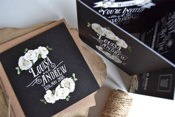 Rustic Rose Wedding Invitation Sample (Chalkboard)