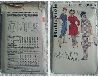 1960's Butterick #6995, Women's Pajama and Robe Size 16 Bust 36