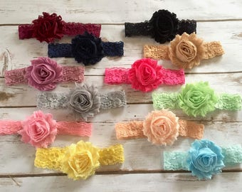 PICK 1 Shabby Lace Headband/Baby Girl Headbands/Newborn Headbands/Baby Headbands/Shabby Chic Headbands/Baby Headband Set/Baby Headband/Gift