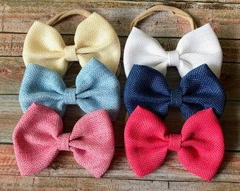 PICK 3 Burlap Bow Headbands/Bow Headbands/Baby Headbands/Newborn Headbands/Infant Headbands/Headbands for Babies/Bows/Headband Sets/Headband