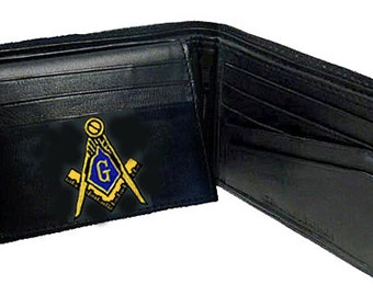 MASONIC WALLET - Bi Fold - Quality Leather - Embroidered Logo