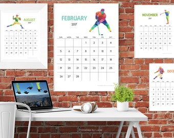 2017 SPORTS THEME Calendar, Colorful Printable Calendar delivered as a PDF file - 12 Months