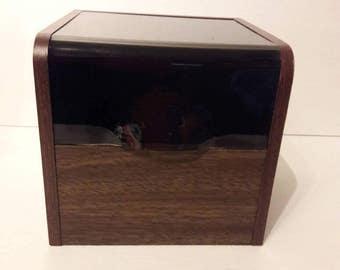 Vintage Midcentury File Box Wood Plexiglass
