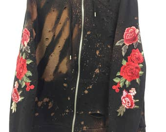 Multiple Rose Sleeve Distressed Hoodie