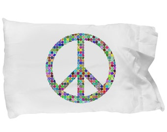 MOSAIC PEACE SIGN - Pillowcase - Rainbow Peace Symbol - Bedding - Pillow Case - Home Decor