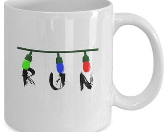RUN - STRANGER THINGS Inspired Mug - Fandom Gift - Christmas Lights - The Upside Down - 11 oz white coffee tea cup