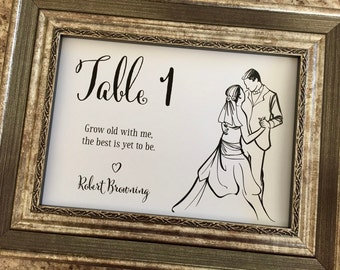 Love Quotes Wedding Table Numbers,5x7 Landscape Table Numbers,Romantic Quotes Printed Table Numbers,Each Table Number has a different quote