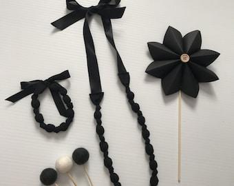 Fabric Beaded Necklace & Bracelet set- Black