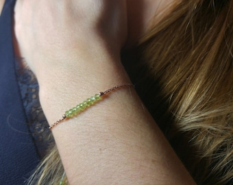 Peridot bracelet * and fine adjustable chain