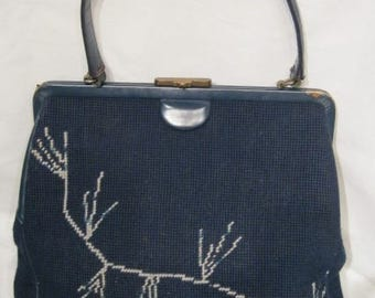 Vintage 1940s-1950s Large Navy Blue Tapestry Needlepoint Frame Handbag with Leather Trim