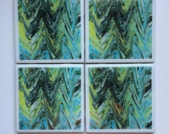Marble-Themed Set of 4 Ceramic Tile Resin Coasters