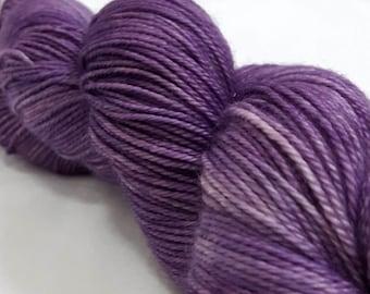 Hand Dyed Yarn - Superwash - Sock Yarn - 80/10/10 Merino/Cashmere/Nylon - Tonal - 'Fizzy Grape'