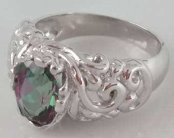 1.5cts Natural Mystic Fire Topaz Sterling Silver Ring